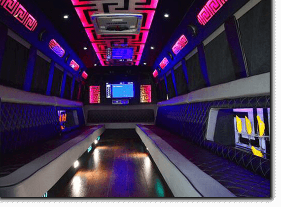 Party bus interior with laser light