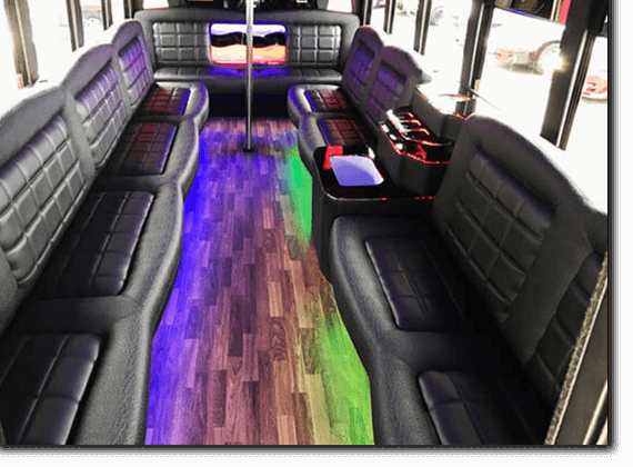 Limo bus interior with acrylic ceiling